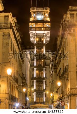 Santa Justa Lift ( Elevador de Santa Justa) also called Carmo Lift, Lisbon, Portugal - stock photo