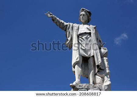 SANTA MARGHERITA TOWN, LIGURIA, ITALY - MAY 04: Monument to Christopher Columbus (by Odoardo Tabacchi, 1892), on May 04, 2014 in Santa Margherita Ligure, Liguria, Italy  - stock photo