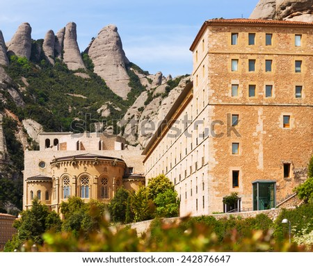 Santa Maria de Montserrat monastery in Pyrenees. Barcelona, Catalonia - stock photo