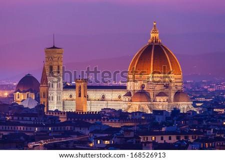 Santa Maria del Fiore, the Florence Duomo at sunset - stock photo
