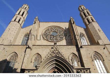 Santa Maria del Mar, Barcelona, Spain, - stock photo