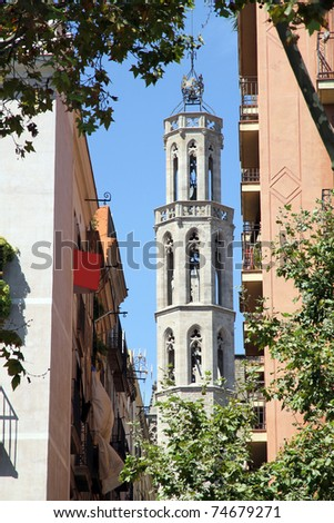 Santa Maria del Mar  church old town Barcelona Catalonia Spain - stock photo