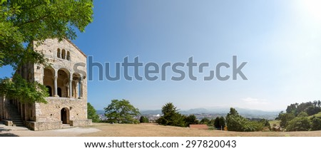 Santa Maria del Naranco with the city of Oviedo in the distance - stock photo