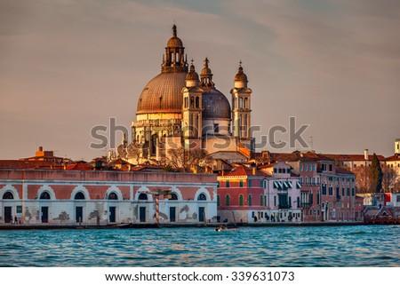 Santa Maria della Salute Church in the Evening, Venice, Italy - stock photo