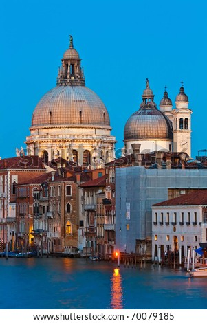 Santa Maria Della Salute, Church of Health, in Dusk - stock photo
