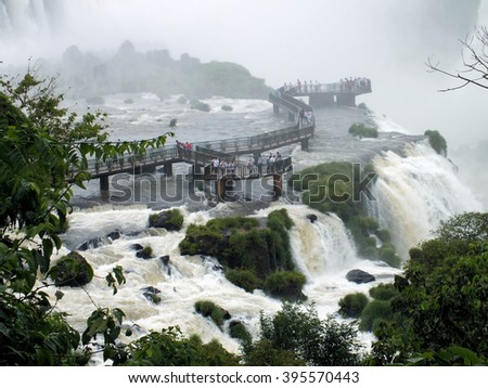 Santa Maria Falls, part of the Iguazu Falls, border of Argentina and Brazil - stock photo