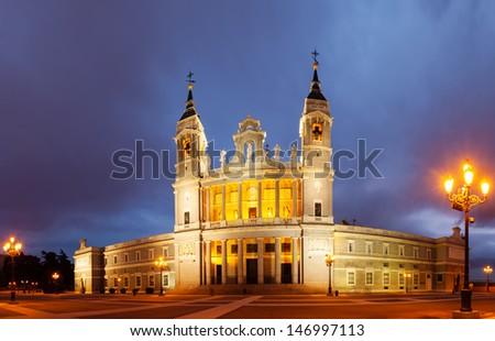 Santa Maria la Real de La Almudena cathedral in twilight time. Madrid, Spain - stock photo