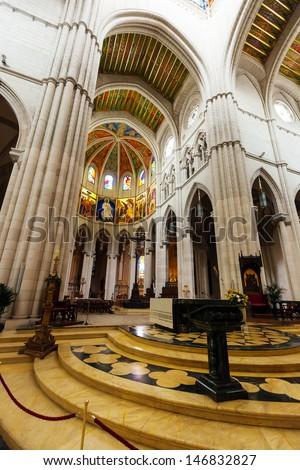 Santa Maria la Real de La Almudena is  cathedral - main church of Spain - stock photo