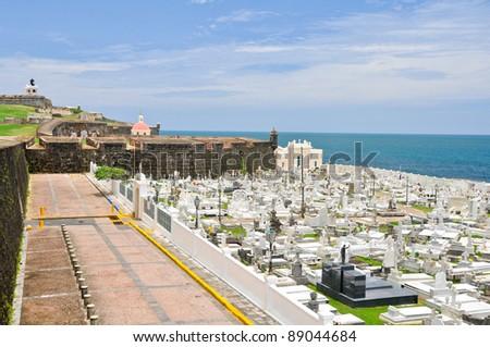 Santa Maria Magdalena cemetery, old San Juan, Puerto Rico - stock photo