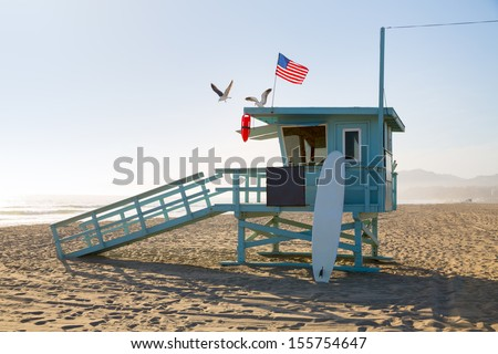 Santa Monica beach lifeguard tower in California USA - stock photo