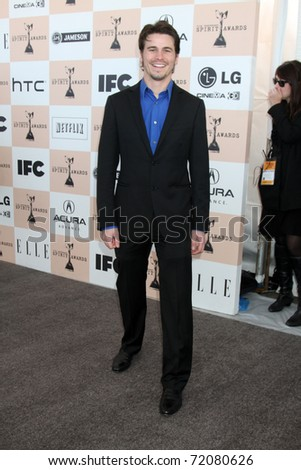 SANTA MONICA, CA - FEB 26:  Jason Ritter arrives at the 2011 Film Independent Spirit Awards at the Beach on February 26, 2011 in Santa Monica, CA - stock photo