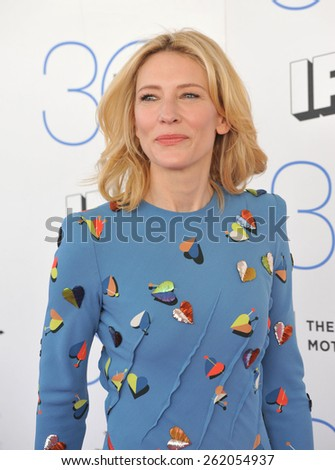 SANTA MONICA, CA - FEBRUARY 21, 2015: Cate Blanchett at the 30th Annual Film Independent Spirit Awards on the beach in Santa Monica.  - stock photo