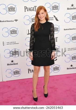 SANTA MONICA, CA - FEBRUARY 21, 2015: Jessica Chastain at the 30th Annual Film Independent Spirit Awards on the beach in Santa Monica.  - stock photo