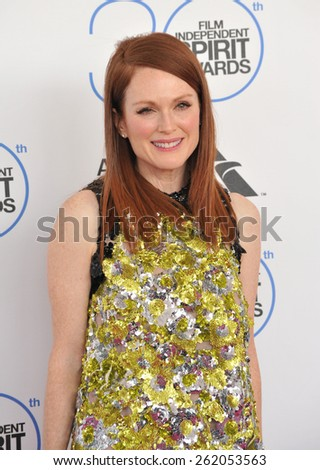 SANTA MONICA, CA - FEBRUARY 21, 2015: Julianne Moore at the 30th Annual Film Independent Spirit Awards on the beach in Santa Monica.  - stock photo