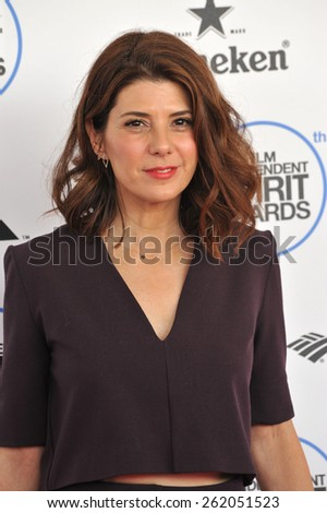 SANTA MONICA, CA - FEBRUARY 21, 2015: Marisa Tomei at the 30th Annual Film Independent Spirit Awards on the beach in Santa Monica.  - stock photo