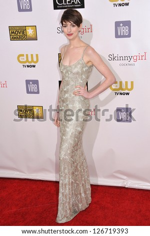 SANTA MONICA, CA - JANUARY 10, 2013: Anne Hathaway at the 18th Annual Critics' Choice Movie Awards at Barker Hanger, Santa Monica Airport. - stock photo