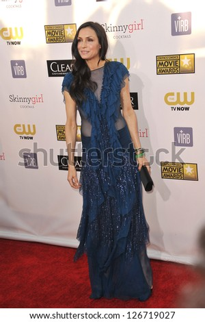 SANTA MONICA, CA - JANUARY 10, 2013: Famke Janssen at the 18th Annual Critics' Choice Movie Awards at Barker Hanger, Santa Monica Airport. - stock photo