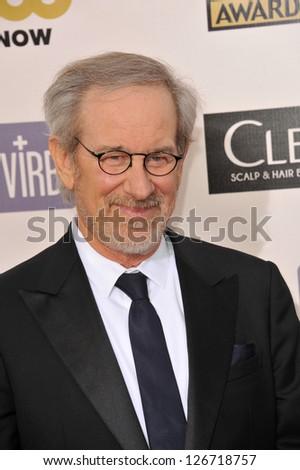 SANTA MONICA, CA - JANUARY 10, 2013: Steven Spielberg at the 18th Annual Critics' Choice Movie Awards at Barker Hanger, Santa Monica Airport. - stock photo