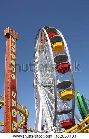 Santa Monica, California, USA. 09.11.2011. Santa Monica colorful fair on the beach. under a sunny blue sky. - stock photo