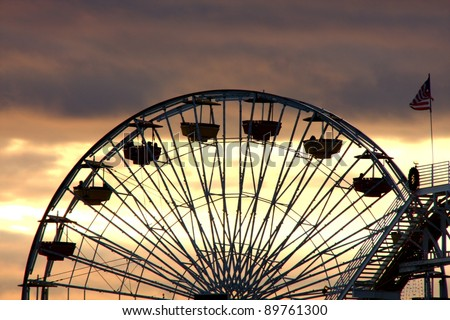 Santa Monica Ferris Wheel Silhouette - stock photo