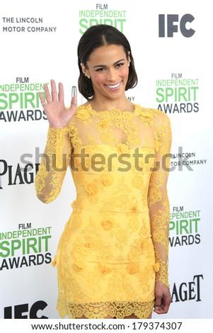 SANTA  MONICA - MAR 1: Paula Patton at the 2014 Film Independent Spirit Awards at Santa Monica Beach on March 1, 2014 in Santa Monica, California - stock photo