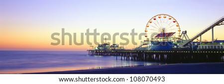 Santa Monica Pier at sunset, California - stock photo