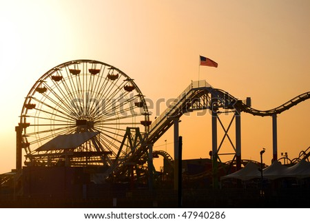 Santa Monica pier in Los Angeles, California - stock photo