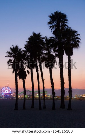 Santa Monica Pier.  This an image of the Santa Monica Pier with silhouettes of palm trees taken just after sunset. - stock photo