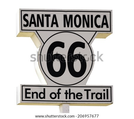 Santa Monica Sign isolated on white background - stock photo