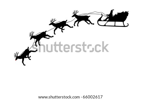 Santa on his sleigh with reindeer in silhouette - stock photo