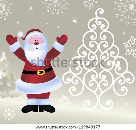 Santa open arms  - coil tree - stock photo