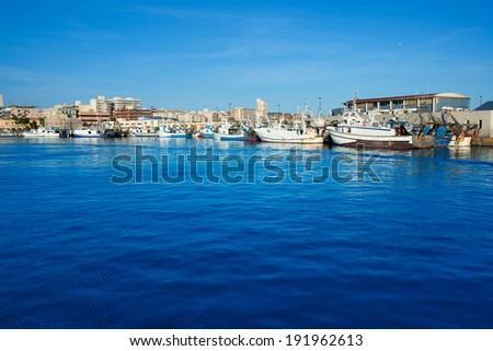 Santa Pola port marina in Alicante Valencia Province of Spain - stock photo