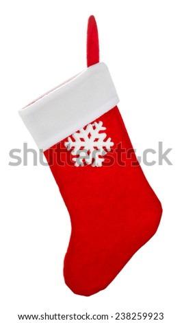 Santa red sock isolated on white - stock photo