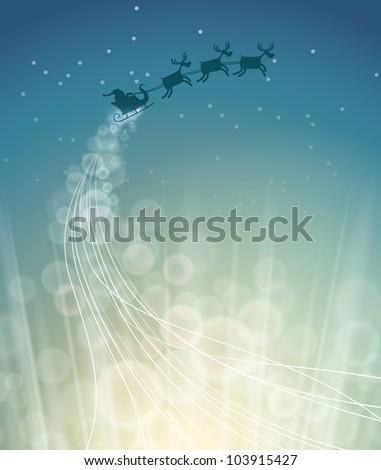 santa riding sleigh in the sky - stock photo