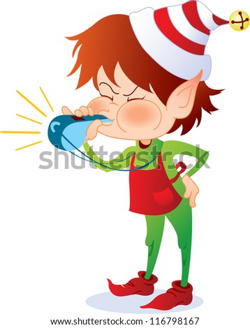Santa's elf blowing a whistle as she supervises the other elves - stock photo