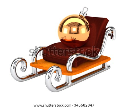 Santa's sleigh with a Christmas toy isolated on white background. The concept festive gift delivery. 3d illustration. - stock photo