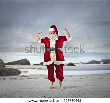 Santa's strength - stock photo