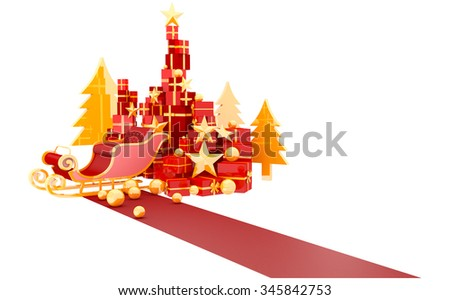 Santa Sleigh And Gifts Isolated On White Background - stock photo