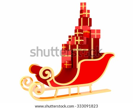 santa sleigh and Gifts on white background - stock photo