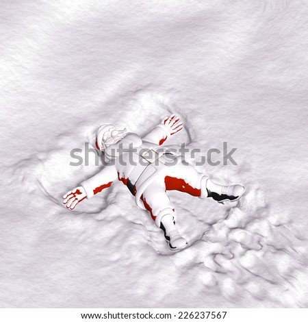 Santa Snow Angel - Santa covered in snow laying on his back making snow angels.  - stock photo