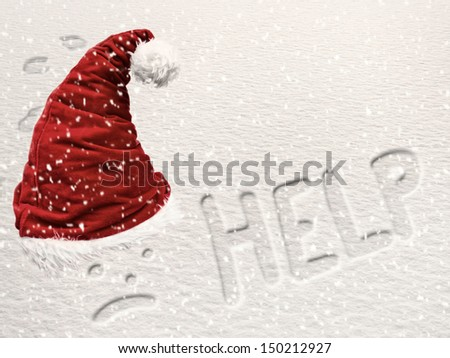 Santa snowed under concept with hat and writings in snow - stock photo