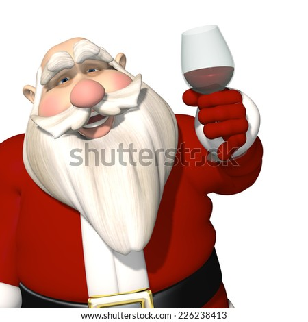 Santa Toasting - Santa raising a glass of wine or maybe it's grape juice in a toast to Christmas and a Happy New Year. Isolated on a white background. - stock photo