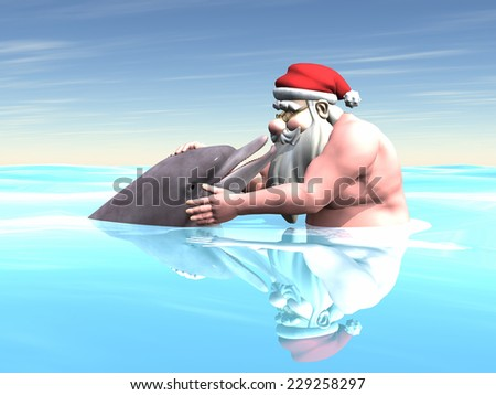 Santa with a Dolphin - Santa Claus touching and looking at a dolphin while swimming in the ocean. - stock photo