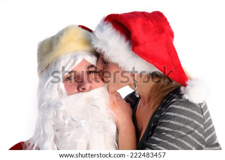 Santa with a young girl - stock photo