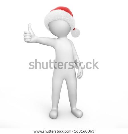 Santa with thumb up - stock photo