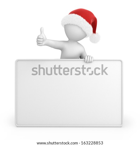 Santa with thumb up, image with a work path - stock photo