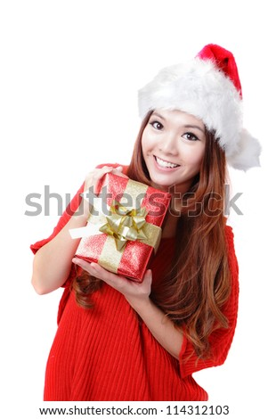 Santa Woman happy holding Christmas Gift Box isolated on white background, model is a asian girl - stock photo