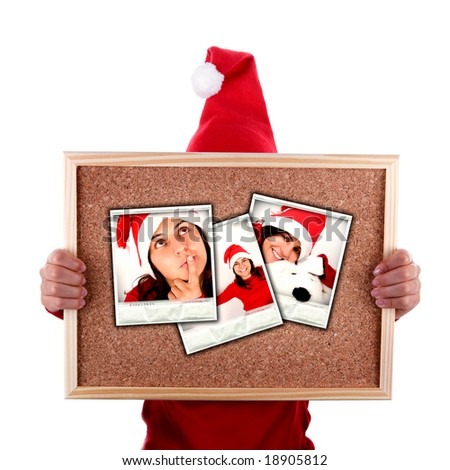 santa woman holding billboard with christmas photos isolated on white background - stock photo