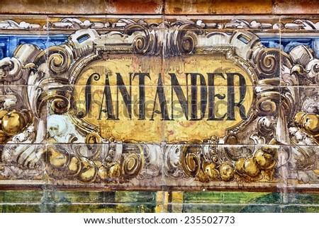 Santander decorative theme. Famous ceramic decoration in Plaza de Espana, Sevilla, Spain. - stock photo