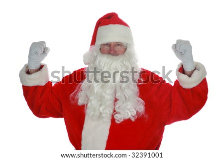 Santas been working out in the Gym isolated on white with room for your text - stock photo